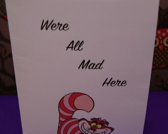 alice in wonderland cheshire cat style card