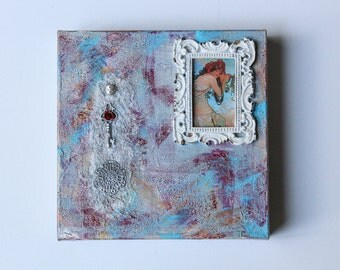 Art Nouveau, Alphonse Mucha Inspired, Canvas, Mixed Media, Blue, Silver, White