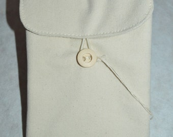 cotton pouch protective padding, with wooden button closure