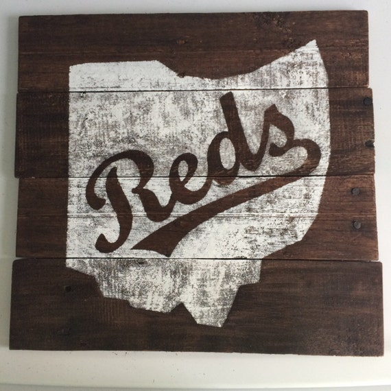 Items similar to Reclaimed Wood Rustic Wall Art, Ohio with Cincinnati Reds  - All States Available + Custom Design Options FREE SHIPPING on Etsy - Items Similar To Reclaimed Wood Rustic Wall Art, Ohio With