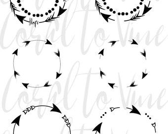 arrow frame svg, arrow circle frame SVG, arrow set svg, feather svg, tribal frame svg, bohemian circle frame, arrow svg, boho svg, arrow dxf