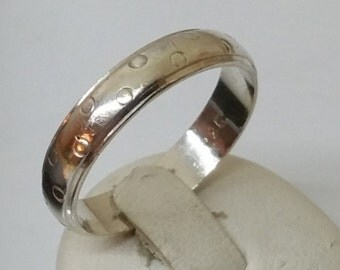 Silver ring 925 simple ring with points 18.6 mm, size 8.7 SR404