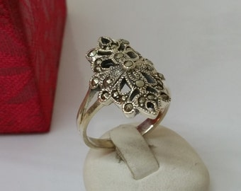 Filigree Art Nouveau ring Markasiten 18.7 mm, size 8.7 SR429