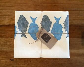 "100% Linen ""Mallacoota Bream"" Hand Printed Blue Fish Luxury Kitchen Tea Towel"