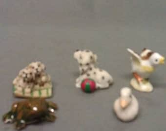 Lot of 5 Miniature Figurines Duck Frog Dogs and Chick