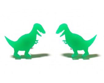 T-Rex Dinosaur Earrings in Green, Dinosaur Earrings, Dino Earrings, Dinosaur Studs, Dinosaur Jewelry, Green Dinosaur Earrings, Trex Earrings
