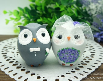 Owl Wedding Cake Toppers-Personalised Love Bird Owl Wedding Cake Toppers Purple Theme