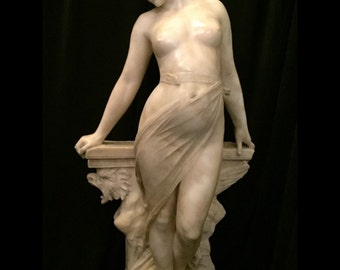 """FREE SHIPPING-Antique-19th Century-Listed Artist-Signed-Pieter Barranti-Marble-29 1/2"""" Tall-Veiled Female Nude-Statue"""