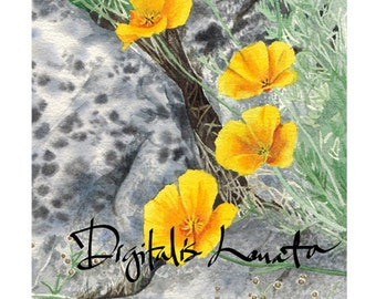 "Yellow poppies notecards (A7 size/5""x7"") set of 10"