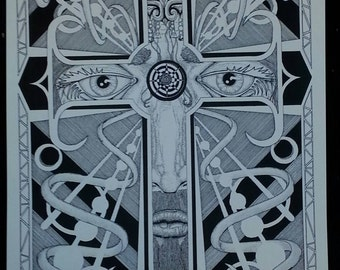 "1 ""Majesty""  Pen & Ink 18""x24"" print.   CHRISTIAN ART ILLUSTRATION Christian art illustration"