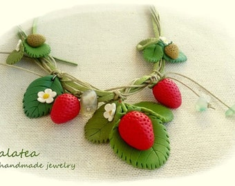 Strawberry necklace Spring jewelry Statement Strawberry jewelry Red Fruit necklace Inspired by Nature jewelry Mother gift Berries necklace