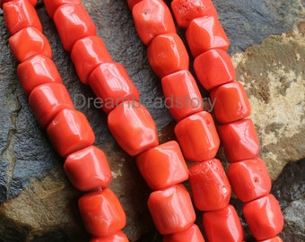 Orange Red Dyed Natural White Coral Barrel Beads, Irregular 14-16mm Chunky Stone Beads for Jewelry Craft Making Supplies (WM216)