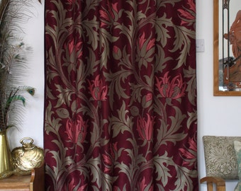William Morris Planet Velvet Lined Portiere Door Curtain