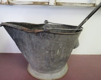 Antique Coal Bucket With Coal Or Ash Shovel