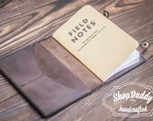 """Field Notes Leather Cover, notebook """"Field Notes"""" for FREE! , Chocolate Leather,  Document Holder, Travel Case, Travel Wallet"""