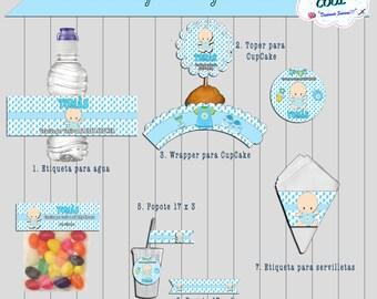 Boy Baby Shower, Printable Boy Baby Shower, Boy Baby Shower Labels,