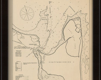 Edgartown Martha's Vineyard - Nautical Chart by George W. Eldridge 1901