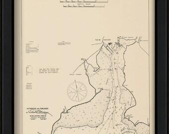 New Haven, Connecticut - Nautical Chart by George W. Eldridge 1901
