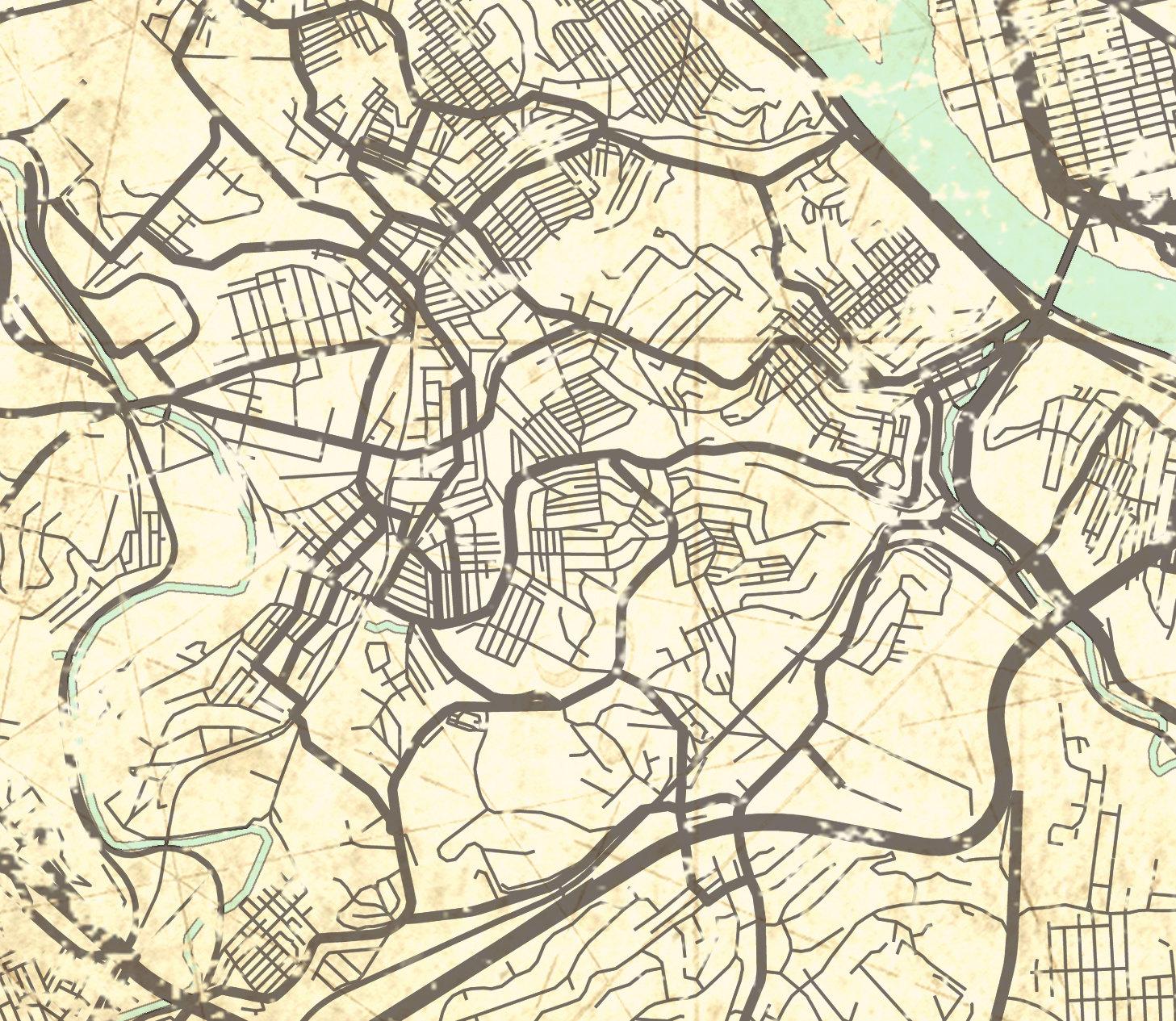 Home Decor Pittsburgh Pa: PITTSBURGH PA Canvas Print Pennsylvania Vintage Map