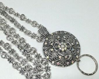 Crystal Flower Lanyard,  Fancy Silver Chain Lanyard,  ID Badge Holder, Lanyard ID Holder, Necklace Lanyard- Breakaway option