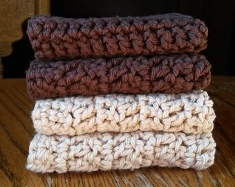 Crochet cotton washcloths, set of four