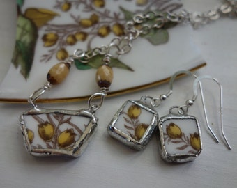 Broken china jewelry set, broken china jewelry, yellow flower necklace, yellow flower earrings, broken plate jewelry, necklace earring set