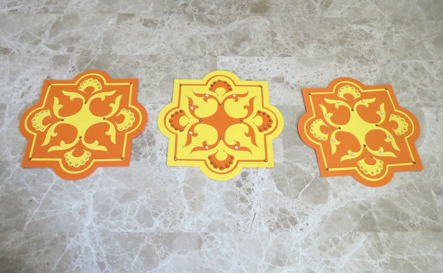 Bohemian Paper Tiles Wall Decor Moroccan Inspired Orange and Yellow ...