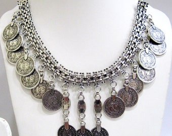 Exclusive Turkish Coin Necklace Design / Tribal Jewelry/ White Metal Necklace / Gypsy Necklace Oxidized Silver