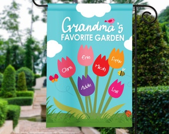 Grandmas Grandmother Garden Mothers Day Personalized Garden Flag Yard Sign Banner Decor Decoration Personalize w Grandchildrens Names GIFT