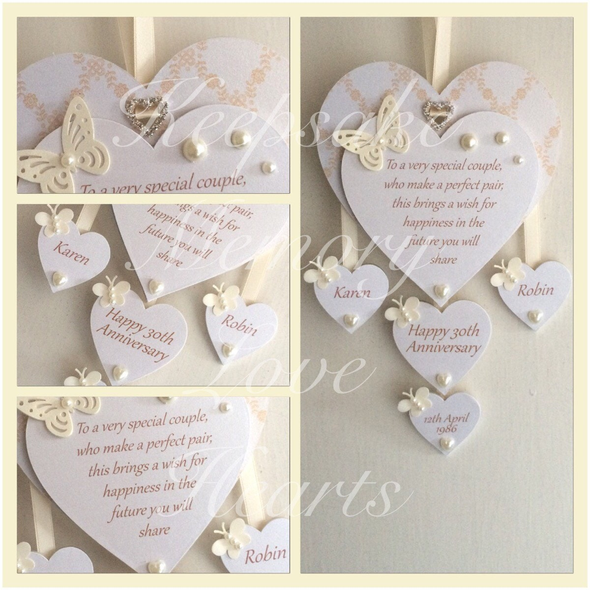 30th Pearl Anniversary Gift Personalised Wooden By KeepsakeHearts