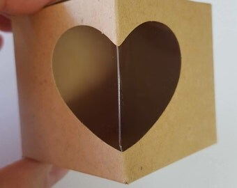 Elegant favor boxes with heart cutout, small brown box