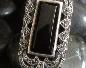Sterling Silver Onyx Marcasite Ring