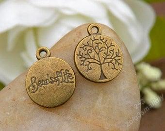50pcs 12x15mm Antique bronze tree of life charm pendant carved tree charm diy handmade materials P5604