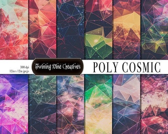 Geometric Galaxy Digital Scrapbooking Paper, Polygon Paper, Cosmos, Space Paper, Commercial Use, Abstract, Fantasy, Rainbow, Colorful, Stars