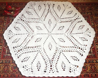 Crochet rug hexagon 57 in. Baby rug floor lace living room mat - Wedding gift birthday gift, area rug