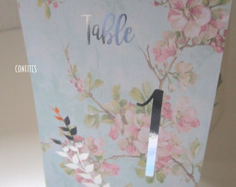 Wedding Table Number Cards - Floral and Silver print