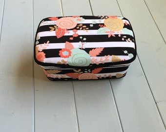 Black and White Stripes with Flowers Wipe Case Nursery Wipe Case Baby Wipe Case Wipes Case Baby Gift