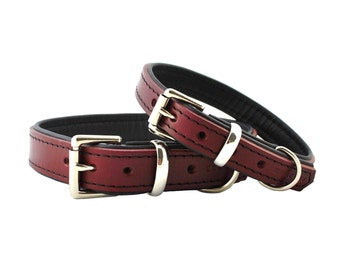 Dark red on Black - Padded Leather Dog Collar - Handmade to Order