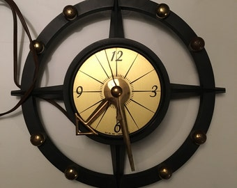 Vintage 70s Mid Century Art Deco Plastic Electric Wall Clock Works