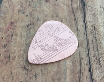 "Guitar pick, Etched ""sheet music"" Copper guitar pick"