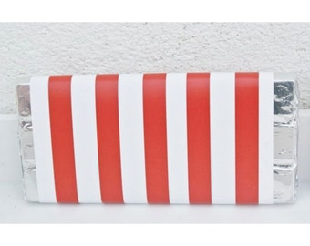 Vertical Red Stripes Wrapper, Circus Party Supplies, Circus Birthday Decorations,Circus Party Ideas,Vertical Red Stripes Candy Bars Wrappers