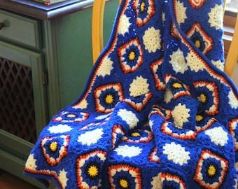 Throw Blanket ,Crochet blanket,handmade blanket,Crochet Afghan - white snowflake with Purple
