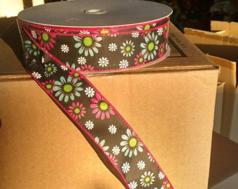 1.5 inch Daisy chaulkboard  Print Ribbon Wired - DIY Wreaths Bows Wrapping Packaging