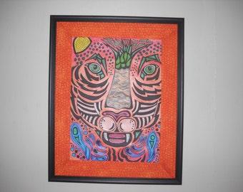 earth cat drawing digital print