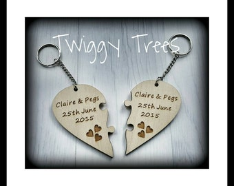 Heart Jigsaw 2 piece set , His &Hers  Engraved (With the text of your choice) keyring husband love keychain Valentine Wedding Anniversary