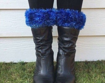 Funky boot cuffs, faux fur welly warmers, womens welly toppers, festival wear, fluffy boot toppers, furry boot cuffs, blue ankle warmers,