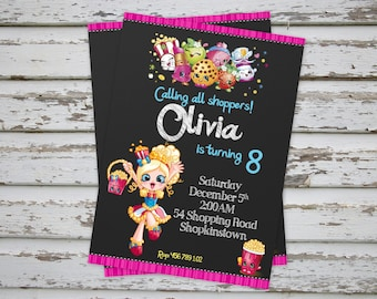 Shopkins Birthday Party Invitation Printable Shopkins Shoppies Birthday Party Invitation Shopkins Invite Shoppies invitationPrintable