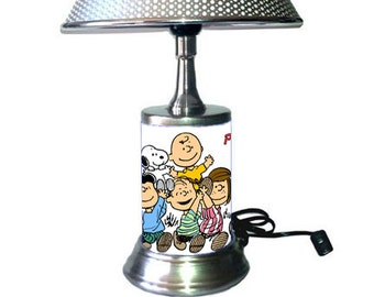 Peanuts Comic Strip Lamp with chrome shade, Charlie Brown, Snoopy