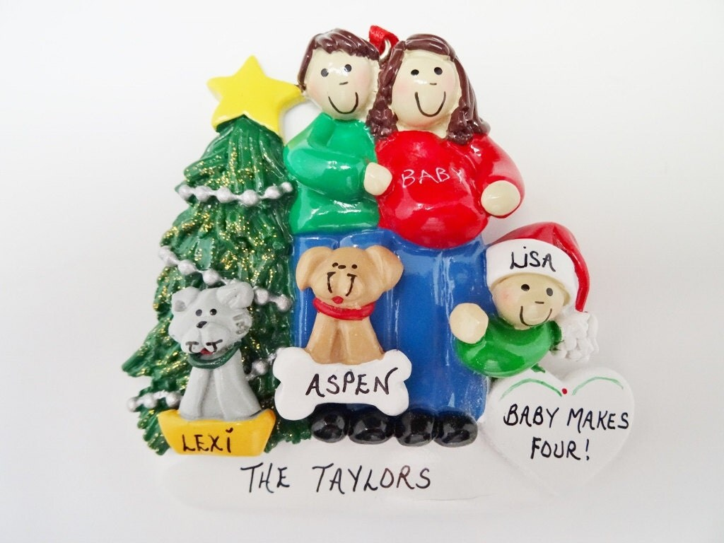 Expecting Family of 3 with 2 Dogs Personalized Christmas