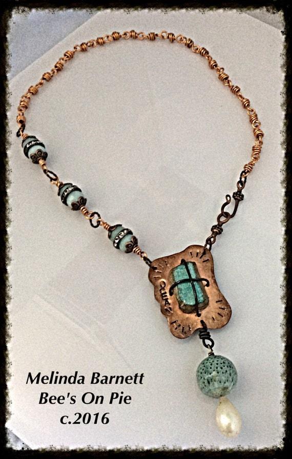 "Faux Sea Pottery Necklace ""Ocean"" by Melinda Barnett #beesonpie #queenebead"